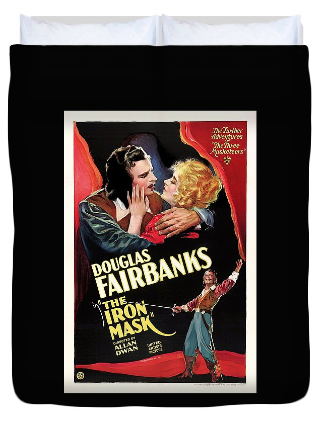 Movie Duvet Cover featuring the mixed media Douglas Fairbanks In The Iron Mask 1929 by Mountain Dreams