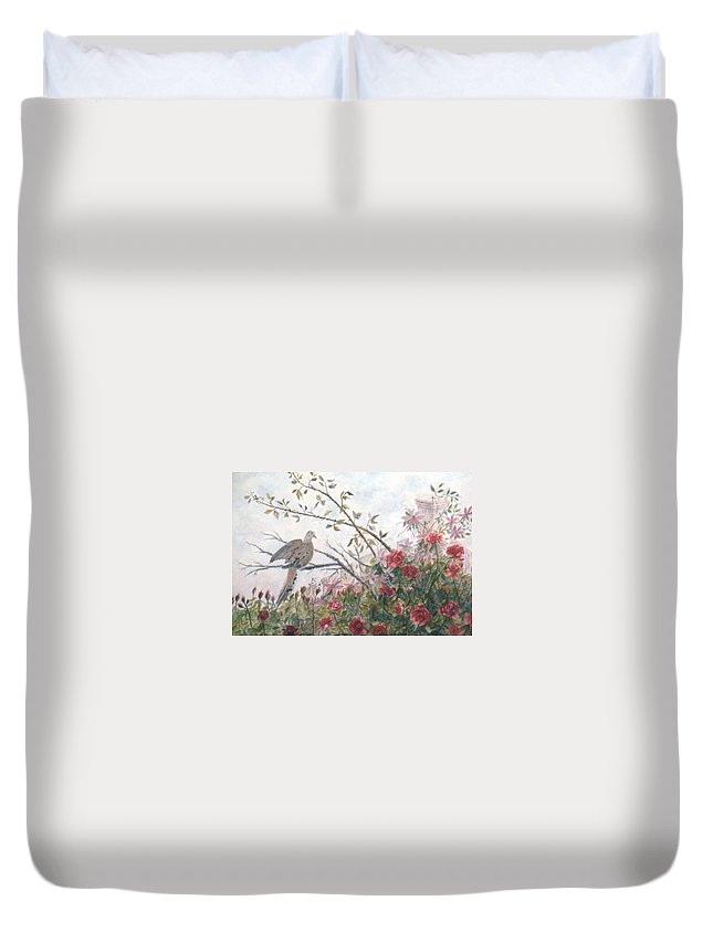 Dove; Roses Duvet Cover featuring the painting Dove And Roses by Ben Kiger