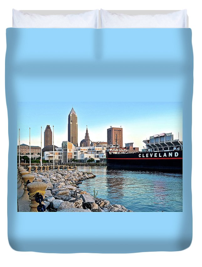 Cleveland Duvet Cover featuring the photograph Down By The Lake by Frozen in Time Fine Art Photography