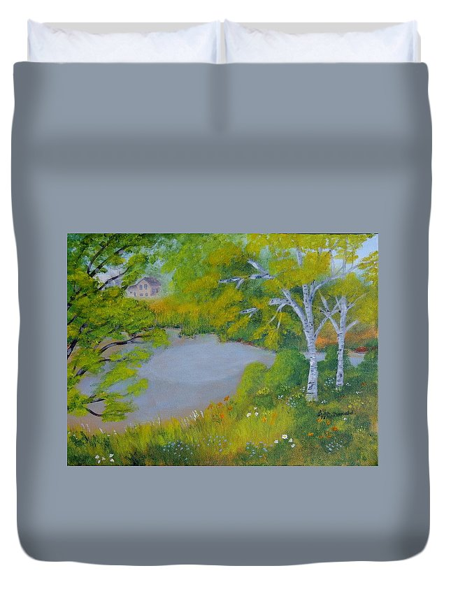 Landscape Duvet Cover featuring the painting Down By The River by Lisa MacDonald