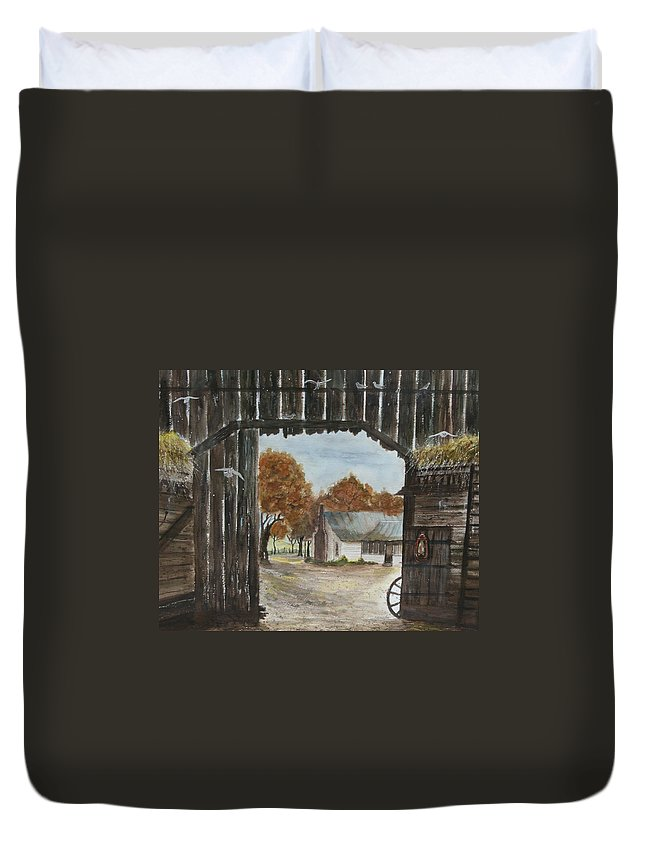 Grandpa And Grandma's Homeplace Duvet Cover featuring the painting Down Home by Ben Kiger