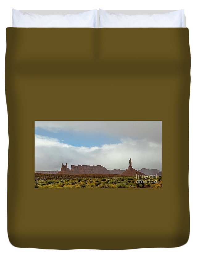 Valley Of The Gods Duvet Cover featuring the photograph Down In The Valley by Jerry Sellers