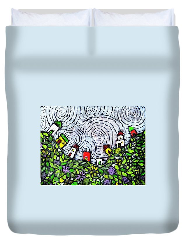 Folk Art Duvet Cover featuring the painting Down In The Valley by Wayne Potrafka