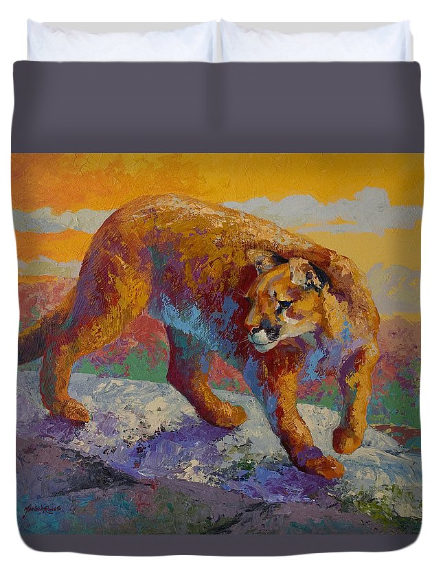 Mountain Lion Duvet Cover featuring the painting Down Off The Ridge - Cougar by Marion Rose