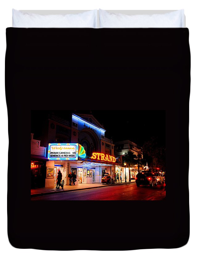Photography Duvet Cover featuring the photograph Down On Duval In Key West by Susanne Van Hulst
