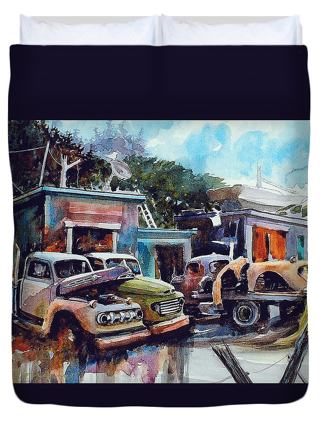 Trucks Duvet Cover featuring the painting Down on the Lower Road by Ron Morrison