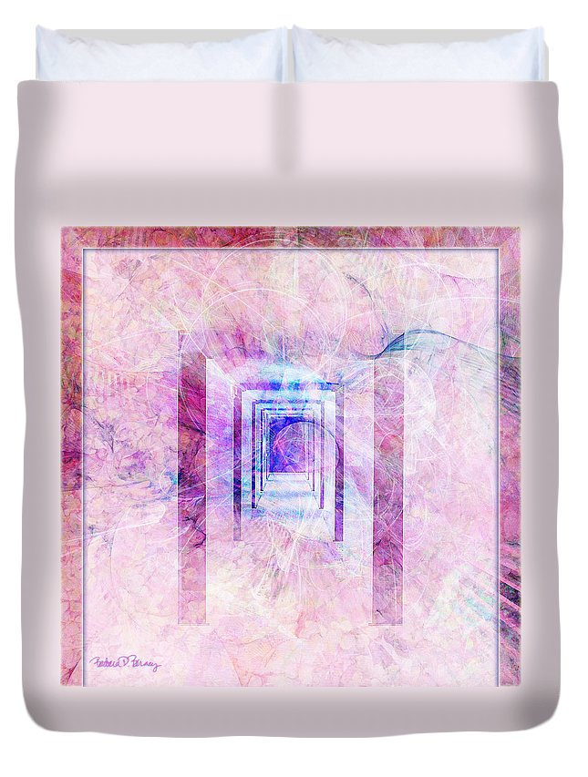 Pink Duvet Cover featuring the digital art Down The Hall by Barbara Berney