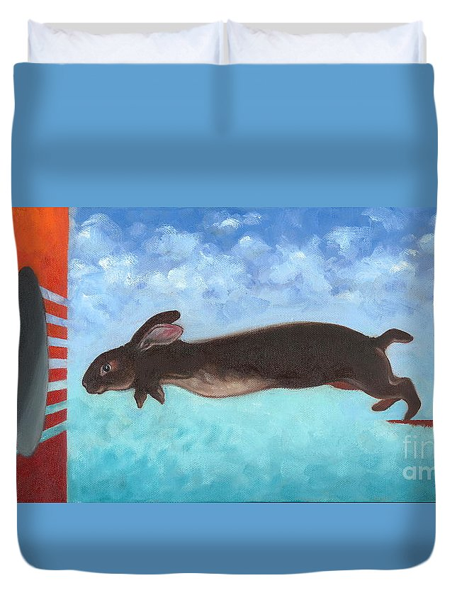 Rabbits Duvet Cover featuring the painting Down The Rabbit Hole by Lorraine Bushek