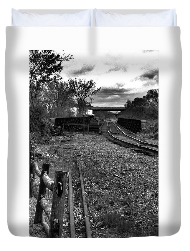 Railway Duvet Cover featuring the photograph Down The Rail by Gotcha Pics Photography