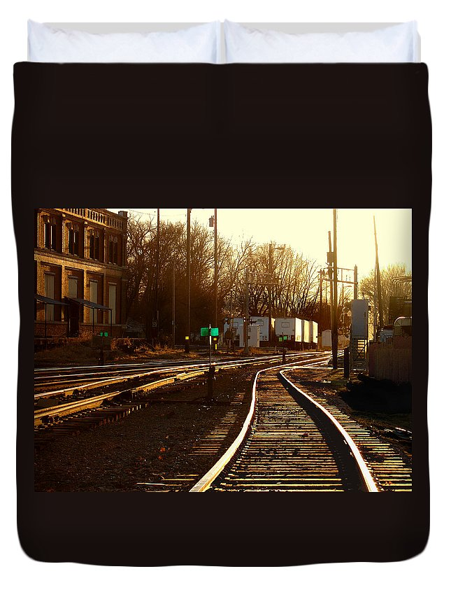 Landscape Duvet Cover featuring the photograph Down The Right Track 2 by Steve Karol
