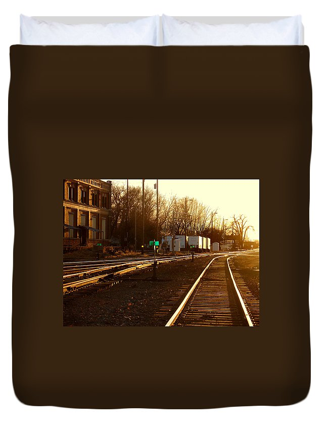 Landscape Duvet Cover featuring the photograph Down The Right Track by Steve Karol