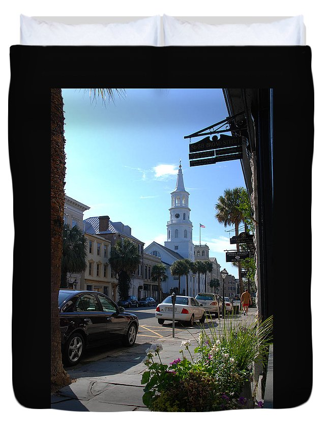 Photography Duvet Cover featuring the photograph Down Town Charleston by Susanne Van Hulst
