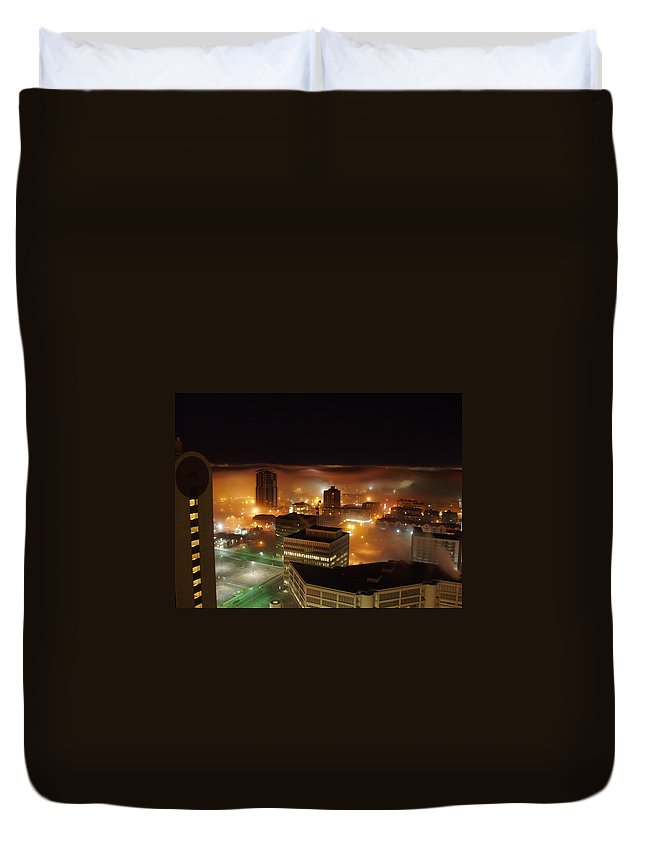 Photograph Calgary Duvet Cover featuring the photograph Downdown Calgary by Seon-Jeong Kim