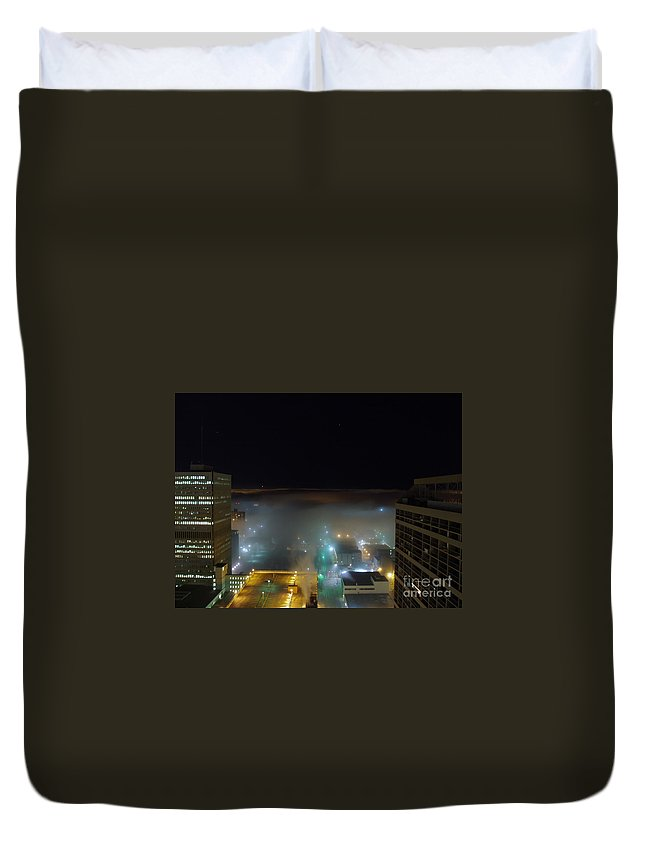 Photograph Duvet Cover featuring the photograph downtown Calgary2 by Seon-Jeong Kim