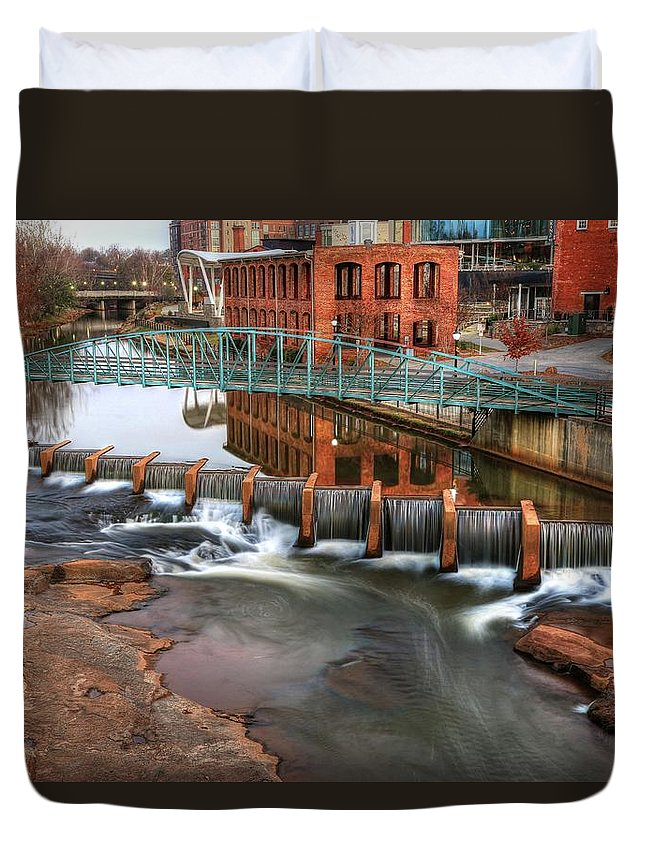 Downtown Greenville Duvet Cover featuring the photograph Downtown Greenville On The River Winter by Carol Montoya