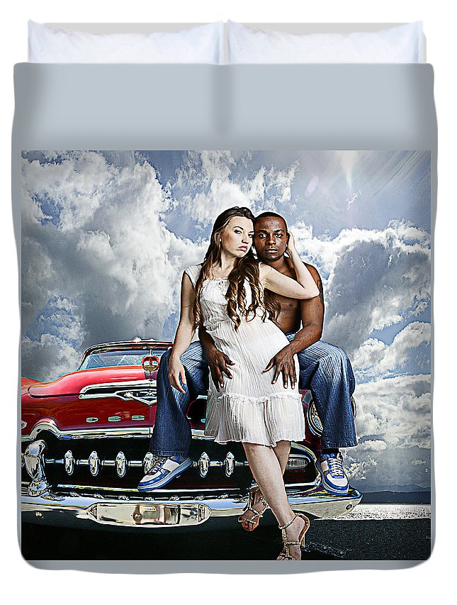 Auto Duvet Cover featuring the photograph Downtown by Jeff Burgess