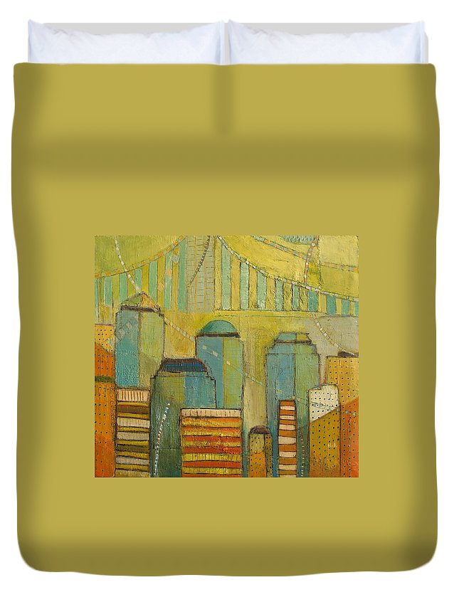 Duvet Cover featuring the painting Downtown Manhattan by Habib Ayat