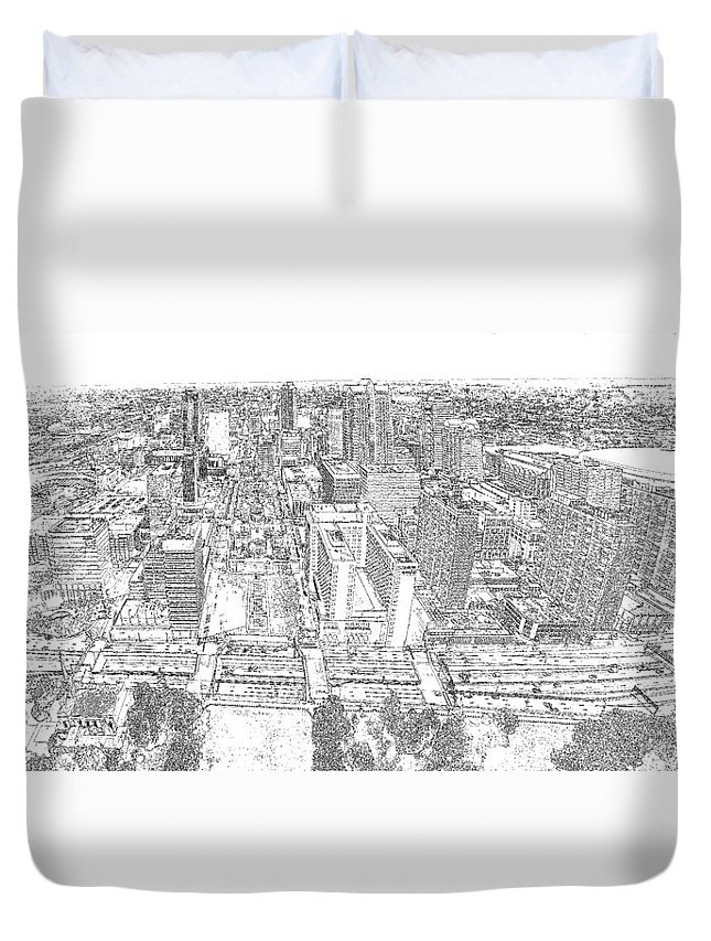 St. Louis Duvet Cover featuring the photograph Downtown St. Louis Panorama Sketch by C H Apperson