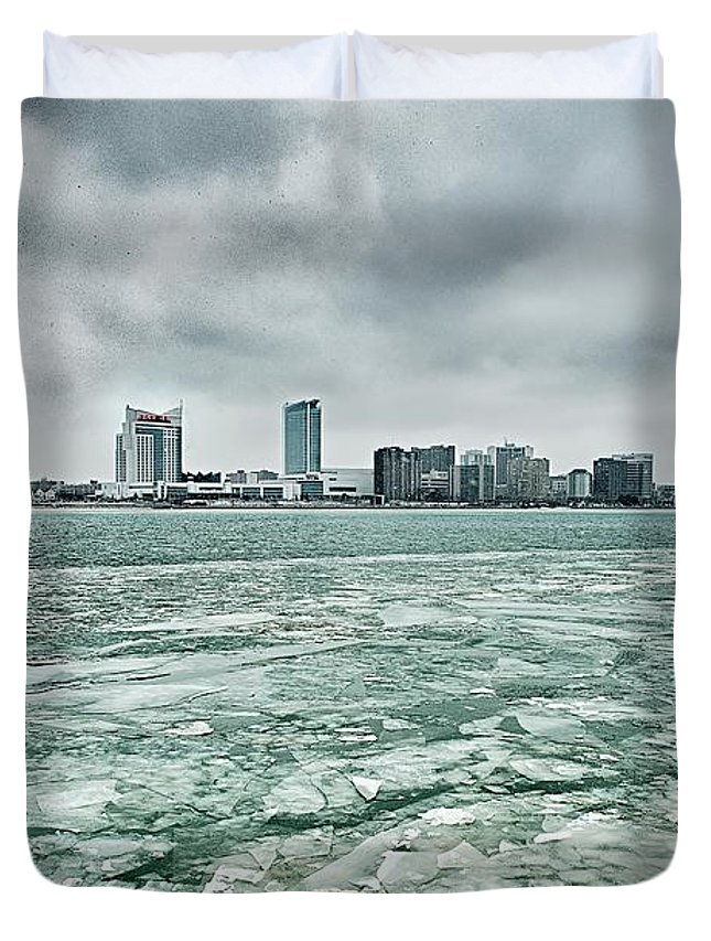 Downtown Duvet Cover featuring the photograph Downtown Windsor Canada City Skyline Across River In Spring Wint by Alex Grichenko