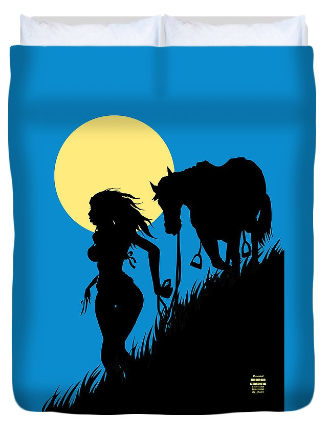 Horse Duvet Cover featuring the drawing Downwind Evening Yellow Moon by Chidube Ukachukwu