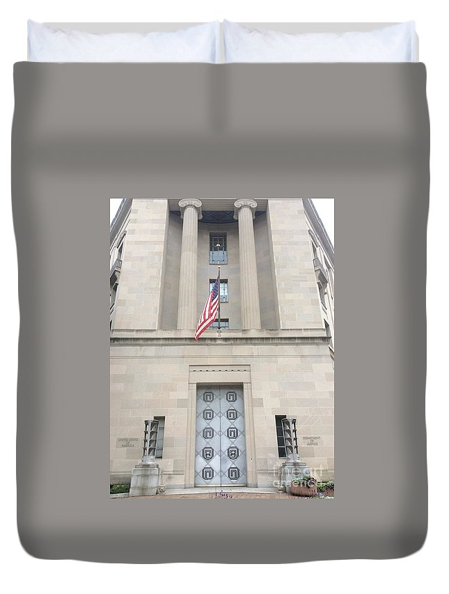 United States Justice Building Duvet Cover featuring the photograph Dr. Doom by Sterlyn Claire