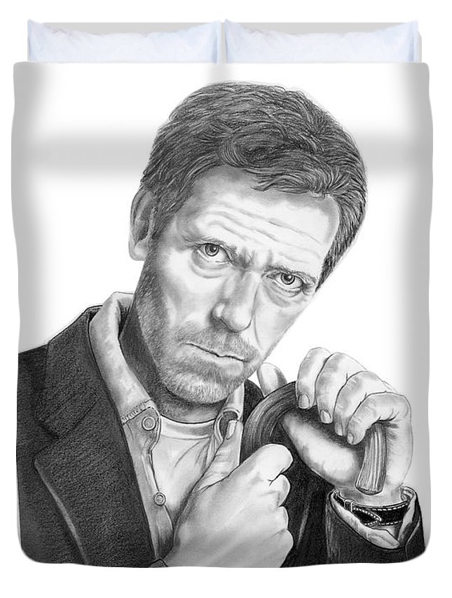 Drawing Duvet Cover featuring the drawing Dr. House Hugh Laurie by Murphy Elliott
