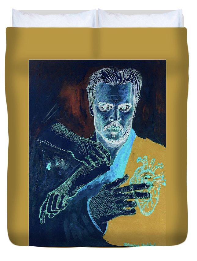 Johannes_hoelderl_2017_5_invert.jpg Alt=dr. Surgeon Inverse #445 Hand Of God Johannes Hoelderl Painting Duvet Cover featuring the painting Dr. by Johannes Hoelderl