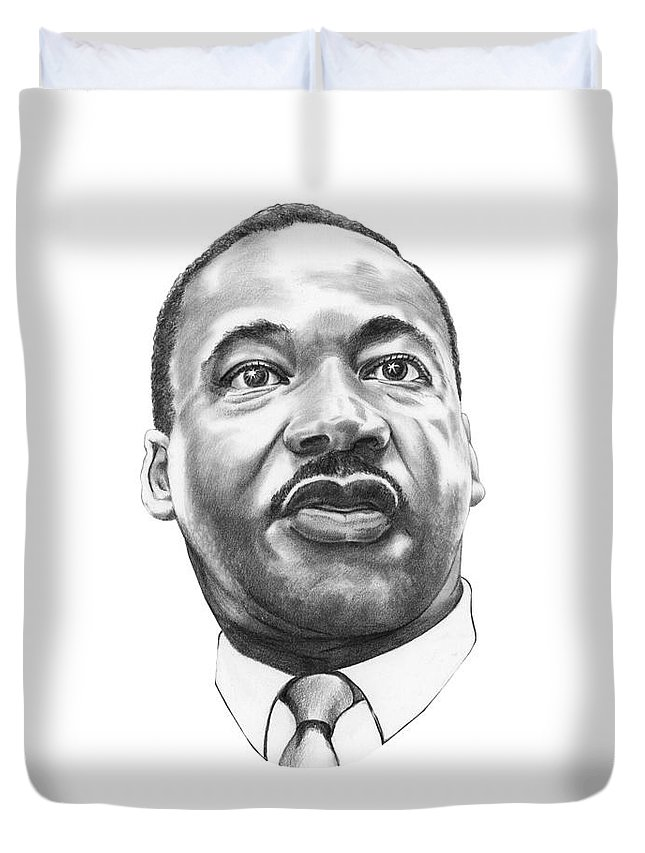 Portrait Duvet Cover featuring the drawing Dr. Martin Luther King by Murphy Elliott