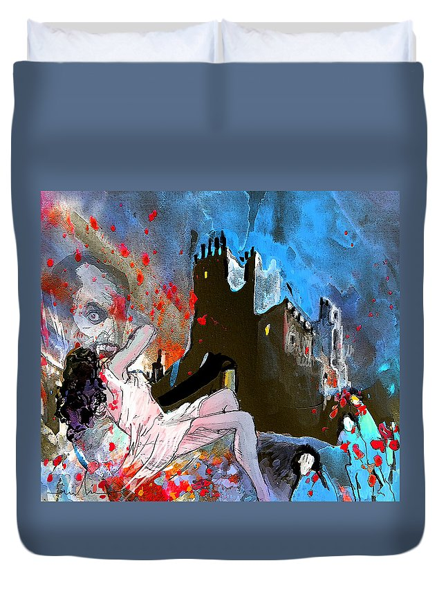Dracula Duvet Cover featuring the painting Dracula by Miki De Goodaboom