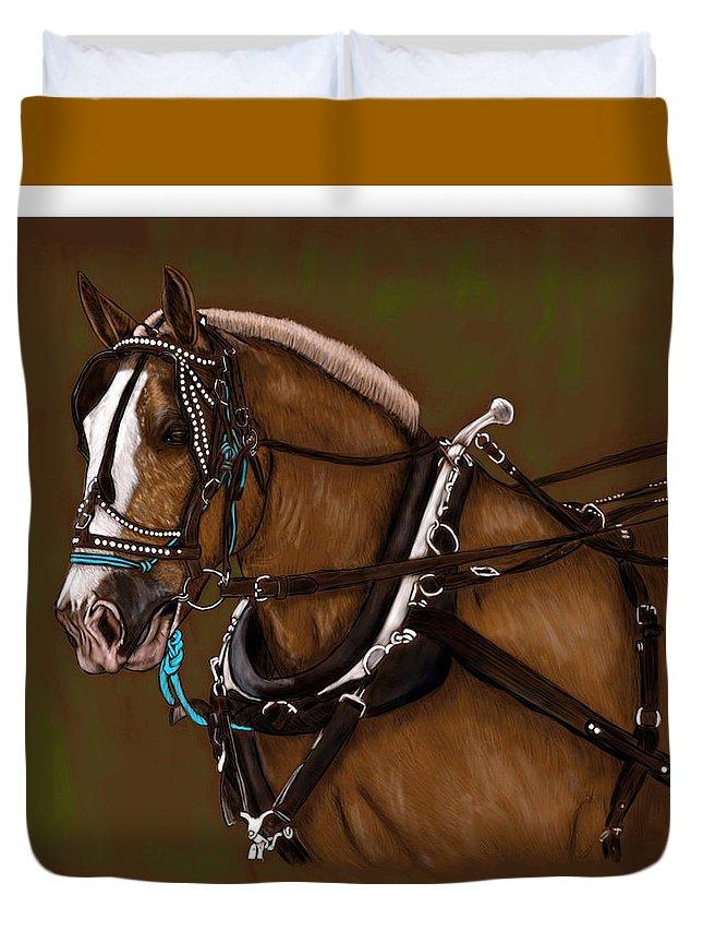 Draft Duvet Cover featuring the digital art Draft Horse by Simona Veisman