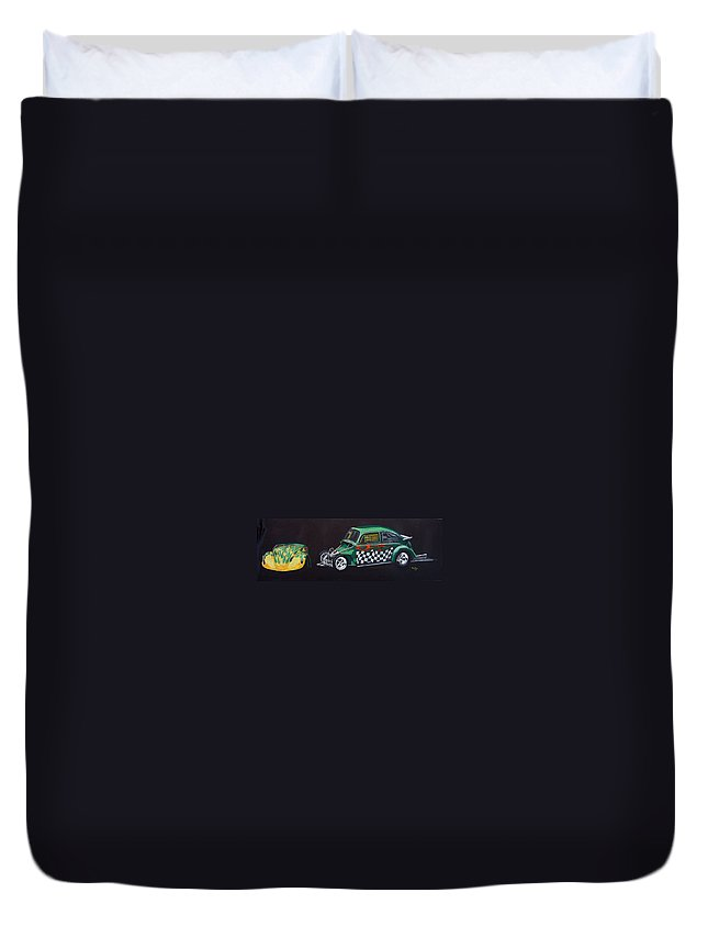 Vw Duvet Cover featuring the painting Drag Racing Vw by Richard Le Page