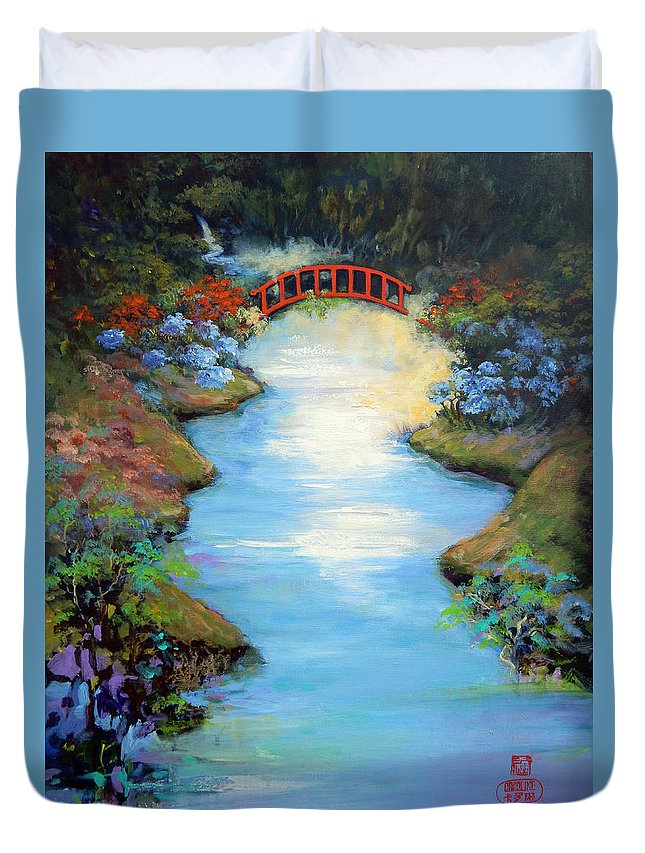 Streams Duvet Cover featuring the painting Dragon Bridge by Caroline Patrick