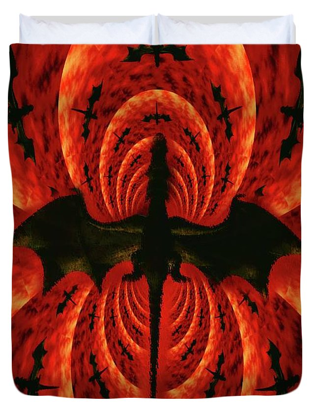 Occult Duvet Cover featuring the digital art Dragon Fire by Mary Bassett
