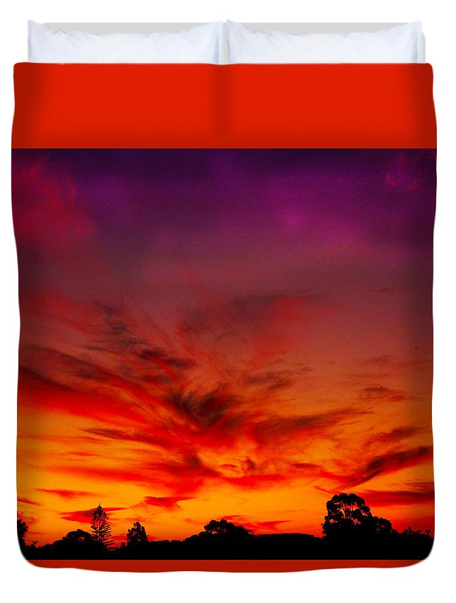 Sunset Duvet Cover featuring the photograph Dragon Glow by Mark Blauhoefer