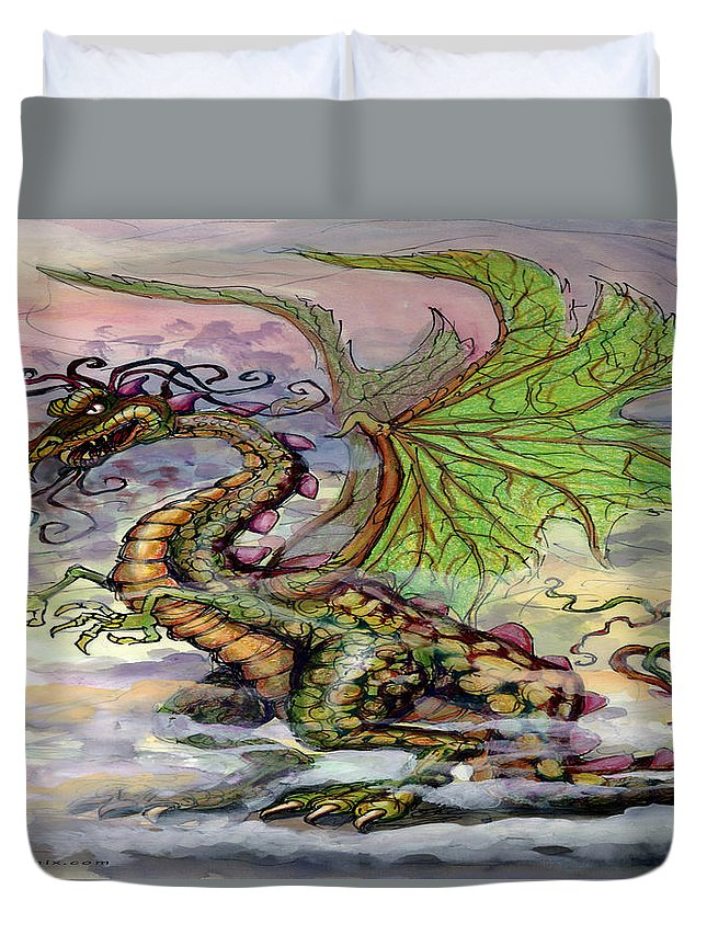 Dragon Duvet Cover featuring the painting Dragon by Kevin Middleton