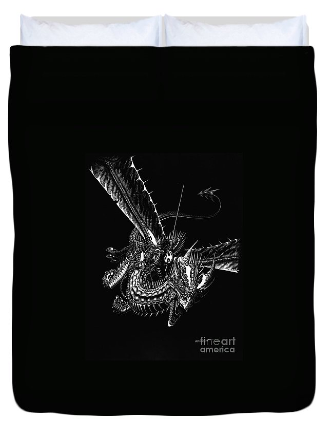 Fantasy Duvet Cover featuring the drawing Dragon Knight by Stanley Morrison