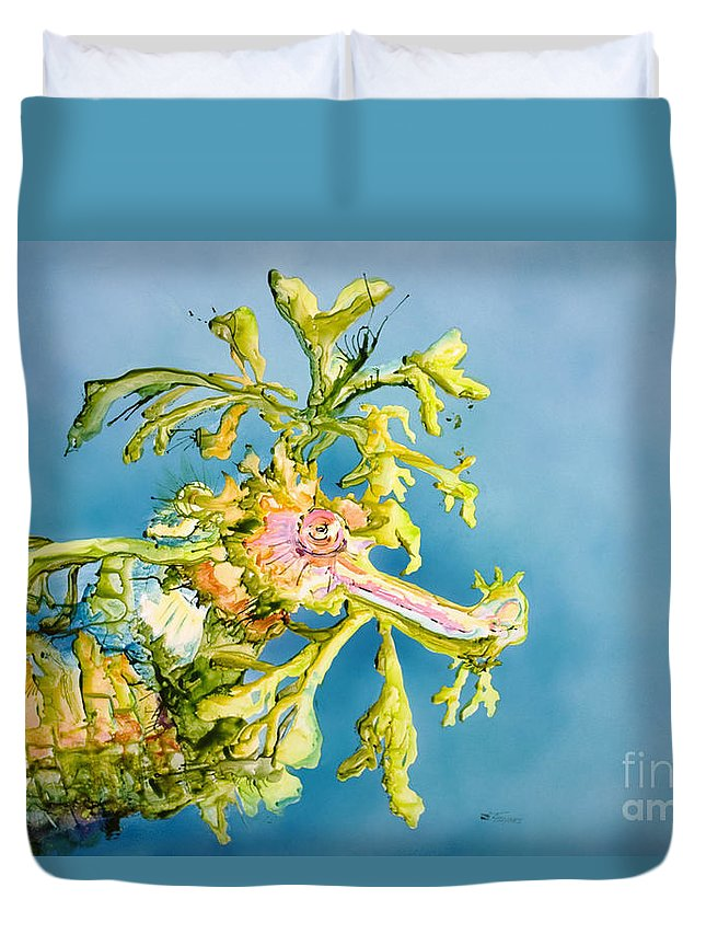Animal Art Duvet Cover featuring the painting Dragon Of The Sea by Tanya L Haynes - Printscapes