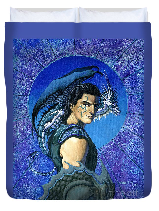 Dragon Duvet Cover featuring the painting Dragoneer by Stanley Morrison