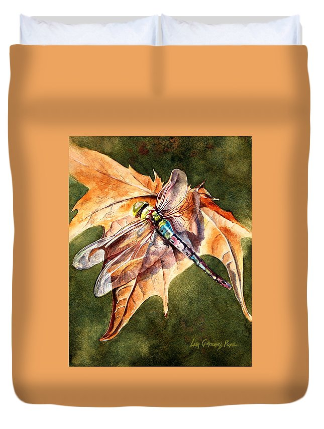 Dragonfly Duvet Cover featuring the painting Dragonfly 2 by Lisa Pope