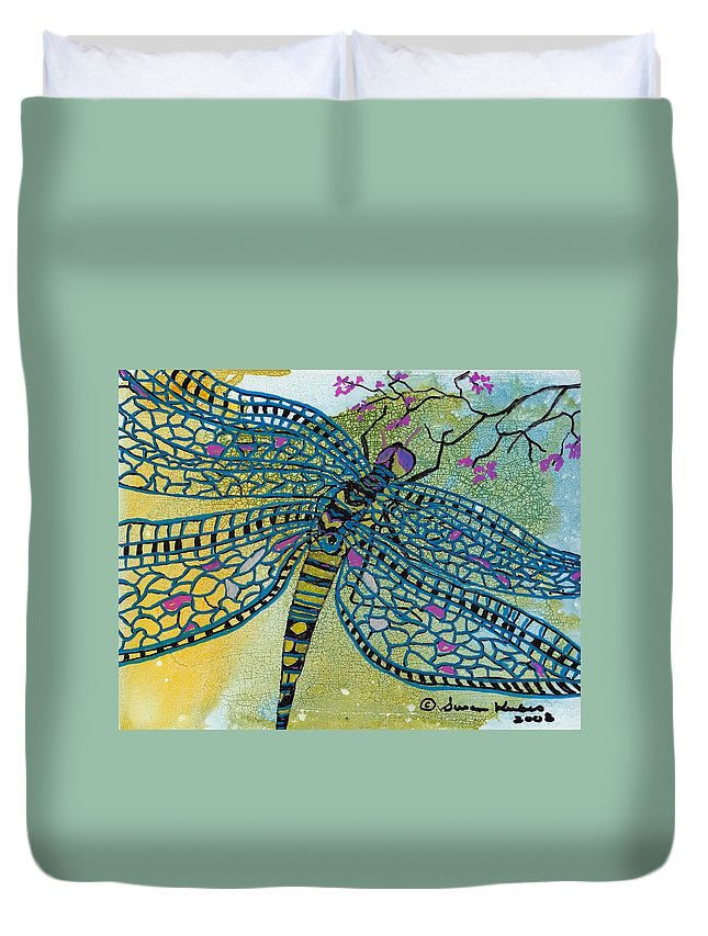 Dragonfly Duvet Cover featuring the mixed media Dragonfly And Cherry Blossoms by Susan Kubes