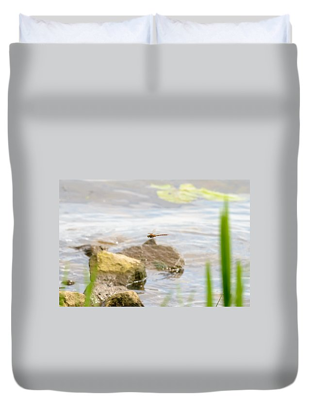 Dnieper Duvet Cover featuring the photograph Dragonfly Flying by Alain De Maximy