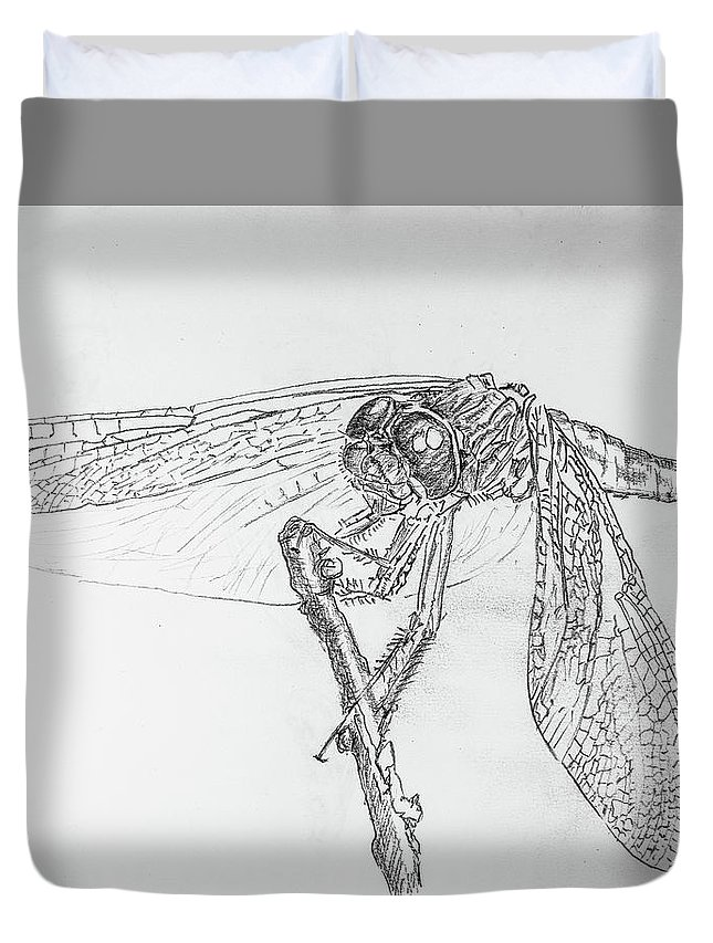 Dragonfly Duvet Cover featuring the drawing Dragonfly by George Desire Herman