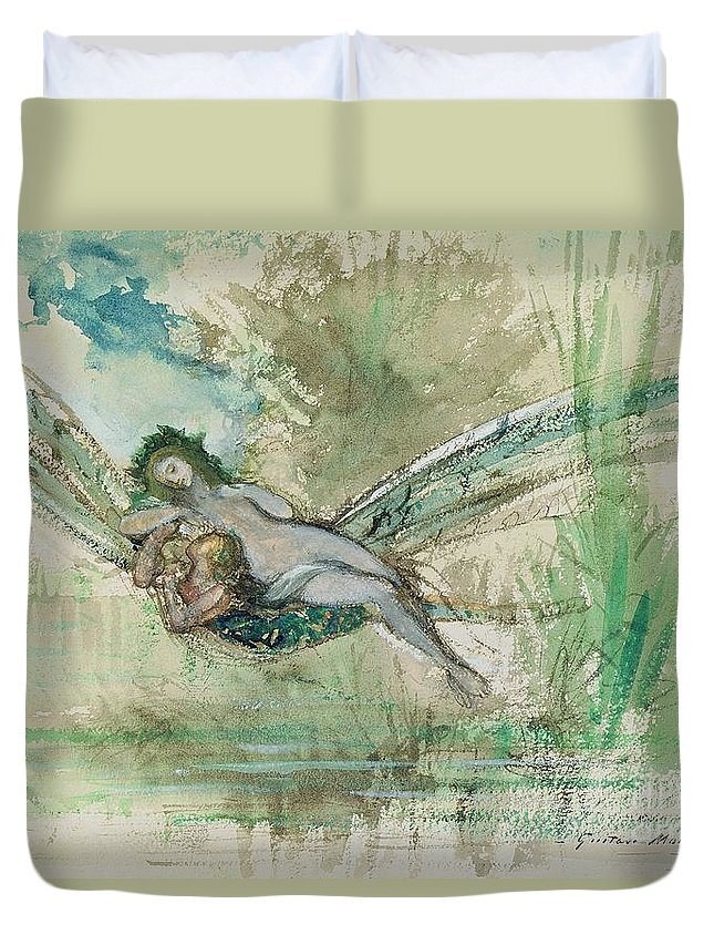Dragonfly Duvet Cover featuring the painting Dragonfly by Gustave Moreau