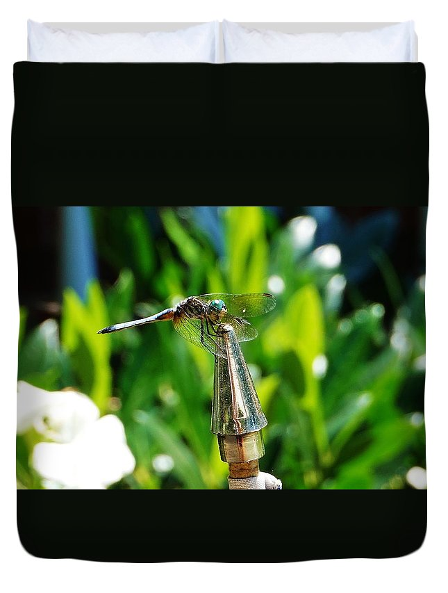 Dragonfly Duvet Cover featuring the photograph Dragonfly On Flag Post by Beth Deitrick