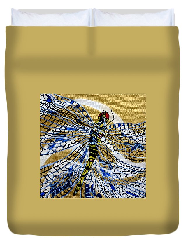Dragonfly Duvet Cover featuring the painting Dragonfly On Gold Scarf by Susan Kubes