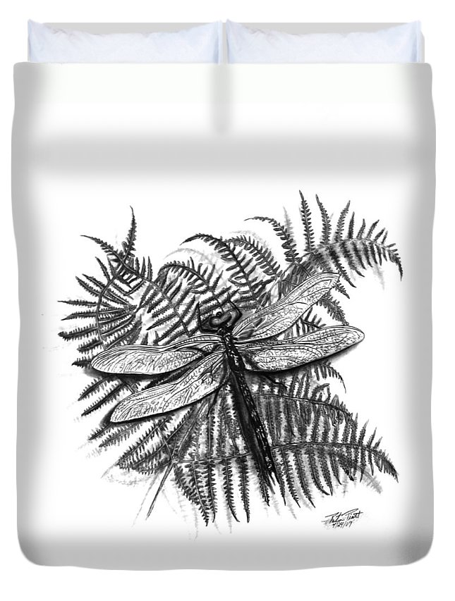 Dragonfly Duvet Cover featuring the drawing Dragonfly by Peter Piatt