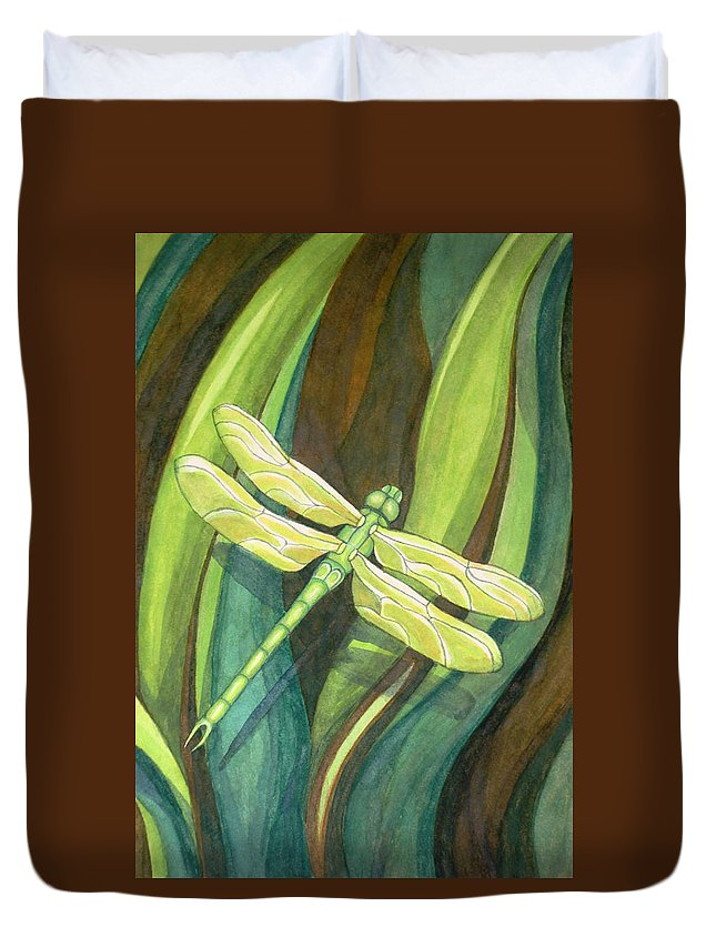 Dragonfly Duvet Cover featuring the painting Dragonfly by Thacia Langham