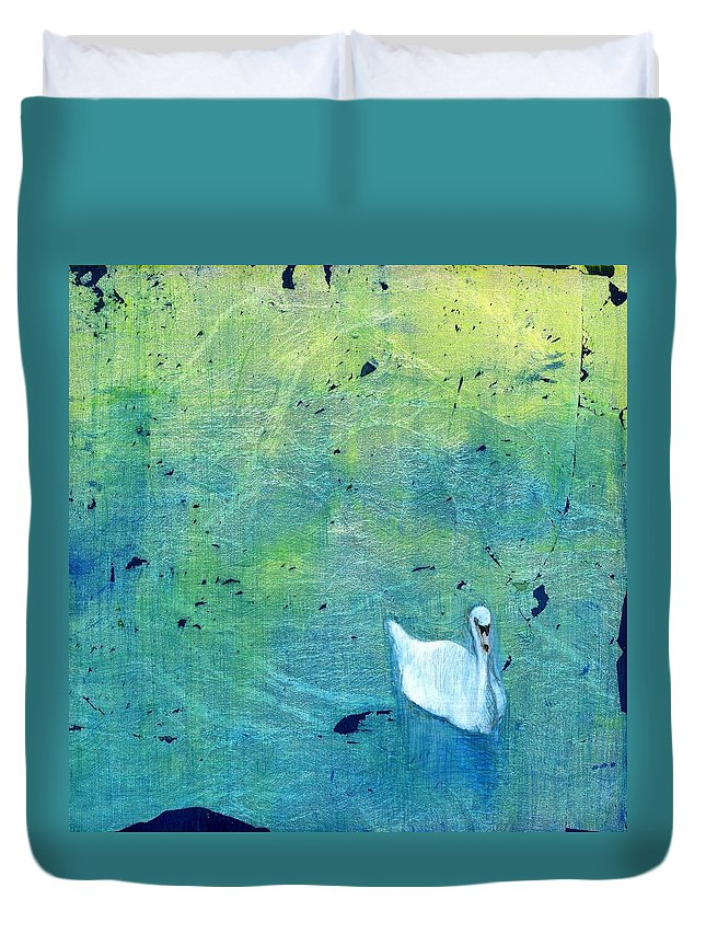 Oil Duvet Cover featuring the painting Drake Park Swan by Patt Nicol