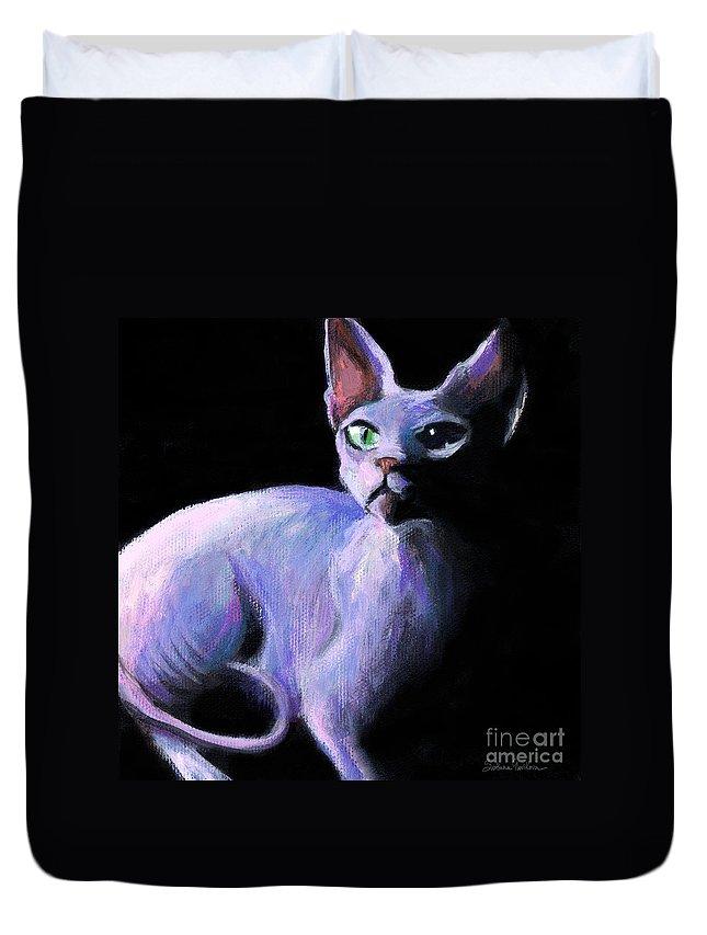 Sphynx Cat Duvet Cover featuring the painting Dramatic Sphynx Cat Print Painting by Svetlana Novikova