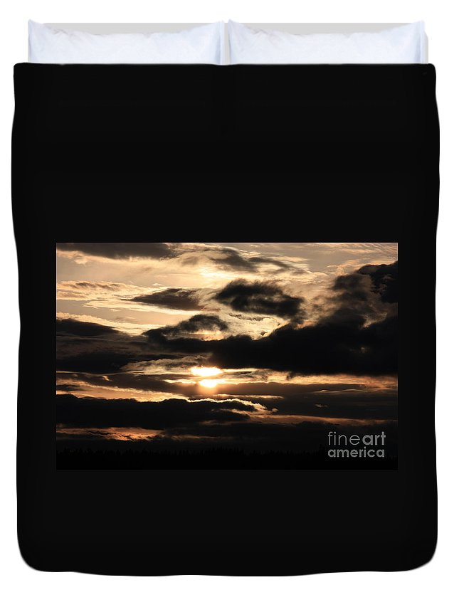 Dramatic Sunset Duvet Cover featuring the photograph Dramatic Sunset by Carol Groenen